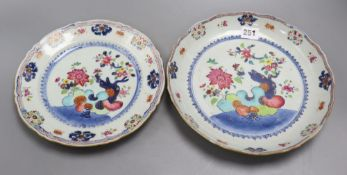 Two Chinese famille rose tobacco leaf plates, 18th centuryCONDITION: The smaller of the two has a '
