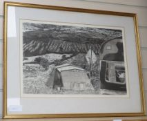 Christiane Kubrick, etching and aquatint 'Stanley in his caravan' signed in pencil, 3/30, 30 x 47cm