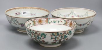 Two Samson famille rose bowls, in Qianlong style and a Japanese kutani bowlCONDITION: Both Samson