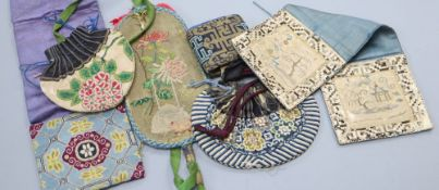 Six 19th century Chinese finely embroidered silk purses, pouches and pockets for carrying seals
