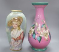 An Ernst Wahliss c.1900 vase and a Paris porcelain vase, height 38.5cm