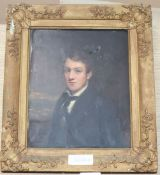 Victorian School, oil on mill board, Portrait of a young man, 27 x 22cm
