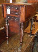 A Regency brass inlaid drop leaf work table, W.54cm, D.36cm, H.76cm