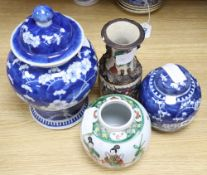 Two Chinese blue and white jars, a famille verte jar and a crackleglaze vase