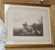 K du Jardin, 18th century woodblock print, 'Shepherd and shepherdess'