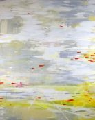 Suling Wang (1968, Taiwanese), oil on canvas, Mute swans flying over a lake, 242.5 x 200.5cm