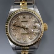 A lady's steel and yellow metal Rolex Datejust wrist watch with diamond set after market? dial, with