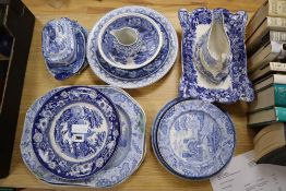 A quantity of Victorian and later blue and white ceramics