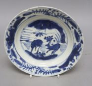 A Chinese blue and white Kraak plate, Ming dynasty, diameter 20.5cm