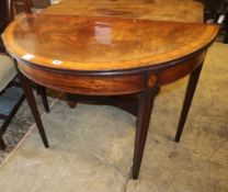 A George III satinwood banded mahogany demi lune folding card table, W.99cm, D.49cm, H.73cm