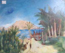 Harold Cohn (1908-1982), oil on board, 'Guaxmas from Playa d'Cortes', signed with COA verso, 50.5