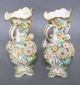A pair of Staffordshire floral encrusted vases, c.1830s, Coalbrookdale type, height 26cm