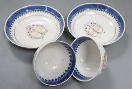 A pair of Chinese export famille teabowls and saucers, Qianlong