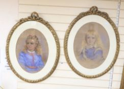 J B Harrison (19th century), pair of pastels, Portraits of girls, one signed and dated 1871, 59 x