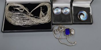 A modern Sheila Fleet enamelled brooch and a pair of earrings and two modern 925 necklace and