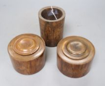 A Chinese huang huali brush pot and two ink jars and covers, 19th century, tallest 11.5cm