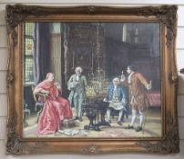 English School, oil on canvas, Cardinal and attendants examing a model galleon, 50 x 60cm