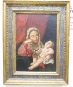 After Guido Reni, oil on canvas, Madonna and child, label remnant verso, 37 x 26cm