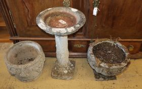 Two reconstituted stone garden urns and a bird bath (3)