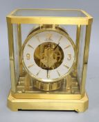A Jaeger Le Coultre Atmos brass four glass clock, height 23.5cm width 21cm