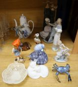 Four Lladro porcelain figures, a Rosenthal coffee pot, Herend quail, Copenhagen cat and other