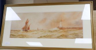 William Henry Pearson, watercolour, Boulogne, signed, 23 x 62cm