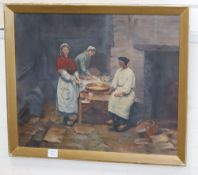 Eleanor Parr, c.1900, oil on canvas, Maids in a scullery, 55 x 65cm