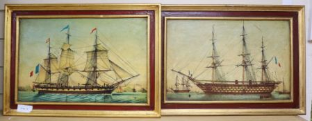 A pair of colour prints of frigates, 28 x 43cm