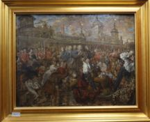 18th century English School after William Hogarth, oil on panel, Bishops being taken to the Tower,
