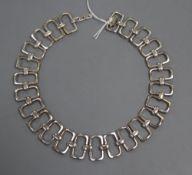 A modern stylish Italian 925 rectangular link necklace, overall 42.3cm, 98 grams.