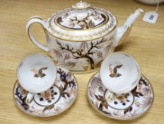 An early 19th century Newhall porcelain oval part tea set, gilt and painted in iron red and