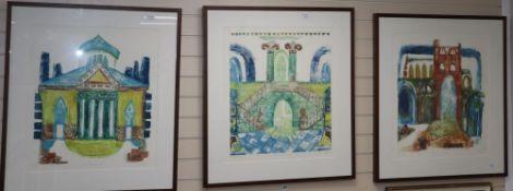 Helen Boden, three limited edition prints, 'Ruins of Jumieges', 7/10, artist proof, 'Villa Rotunda