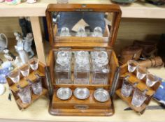 A Victorian oak-cased decanter / games box, height 33cm