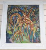 Henry Sanders (1918-1982), oil on board, Study of giraffes, signed and indistinctly dated, 60 x