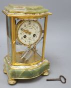 An early 20th century French green onyx, champleve enamel and ormolu mantel clock, includes key,
