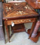 An Edwardian rosewood envelope card table, W.55cm, D.55cm, H.74cm