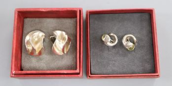 Regitze Overgaard for Georg Jensen, a pair of sterling silver 'heart' earrings and a pair of