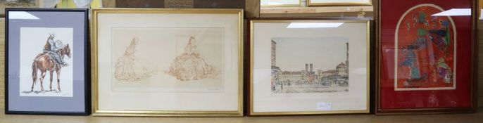 A William Russell Flint limited edition print, a Dan Bates watercolour of a cowboy and two colour