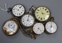 Six assorted pocket watches including a base metal verge.
