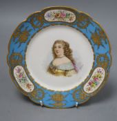 A Sevres style plate, painted with a bust of 'Elisabeth de Savoie' [sic], signed Poitevid, Sevres