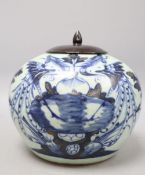 A 19th century Chinese blue and white jar and cover, overall height 23.5cm