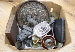 A quantity of mixed metalware including copper and plate