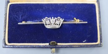 A 14ct, plat and diamond set coronet sweethearts bar brooch, 49mm, gross 3.7 grams, in Gieves box.