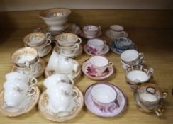 A group of mixed 19th century lustre teawares