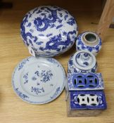 Chinese blue and white porcelain - a 'dragon' box and cover, two jars and one cover, two pillows and