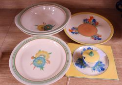 A Clarice Cliff Blue Crocus square plate and lidded mustard, two Spring Crocus dishes, a Crocus