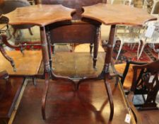 A pair of Regency style mahogany tripod wine tables with shaped circular tops, 44cm diameter, H.