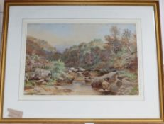 Benjamin Williams Leader (1831-1923), watercolour, Mountainous river landscape, signed and dated
