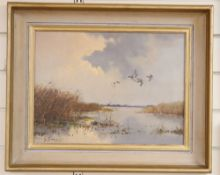 G Stevens, oil on canvas, Marshland with ducks in flight, signed, 29 x 40cm signed, 12 x 16in.