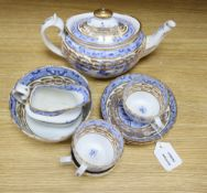 """An early 19th century Miles Mason blue and white transfer printed tea set, """"Temple"""" pattern"""